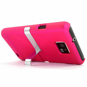 Deluxe-Pink-Hard-Case-Cover-With-Chrome-Stand-Samsung-Galaxy-S2-SII-i9100-NEW