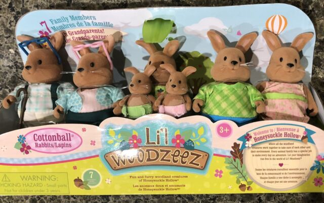 Lil Woodzeez 6492z Cottonball Rabbits Family 7 Family Members Ages 3 and up for sale online