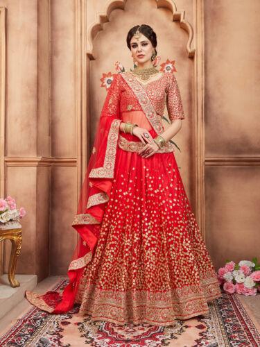 Womens Bridal Wear Red Silk Lehenga Choli Indian Ethnic Wedding Sequins Lengha