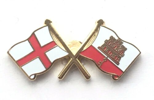 England /& Gibraltar Flags Friendship Courtesy Enamel Lapel Pin Badge