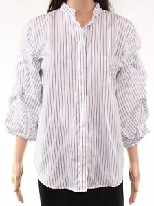 Lauren by Ralph Lauren Womens Top White Size Large L Button Down Striped $99 005