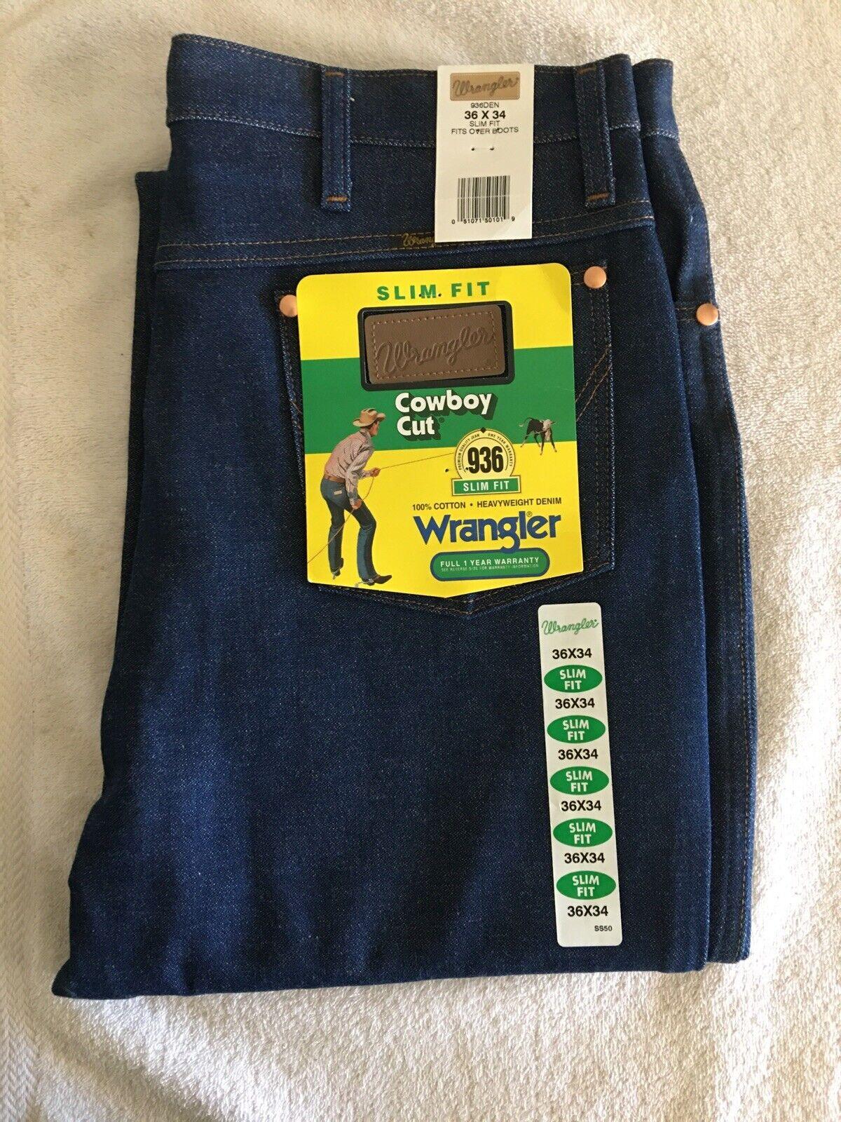 New Wrangler Cowboy Cut Slim Fit Jeans Men/'s Size 34 x 34