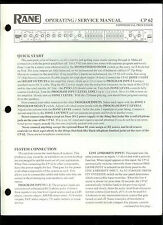 Original Factory Rane CP 62 Commercial Processor Owner's/Service Manual