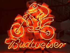 Details about NEON LIGHT BUDWEISER BUD MOTOCROSS KTM BIKE STORE BEER BAR  DECORATION SIGN