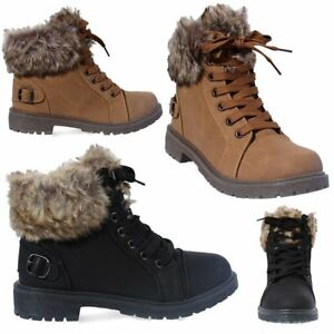 Womens Ladies Faux Fur Grip Sole Winter Warm Ankle Boots Trainers ... 05a0c0192c