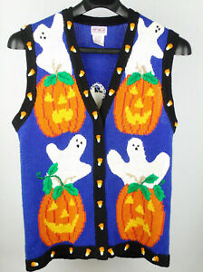 Pbj Sport Halloween Sweater Vest Ghost Jack O Lanterns