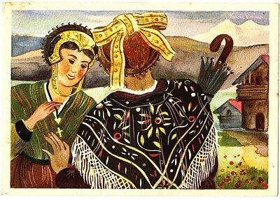 CPA série de 10 cartes Folklore Savoie Illustrateur Welcomme fantasy postcard