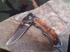 "Elk Ridge Folding Knife Linerlock 4.5"" Clsd Mirror Finish Frame Maple Wood 519"