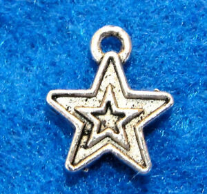 20Pcs Tibetan Antique Silver STAR On Star Tibet Charms Ear Drops Findings ST29