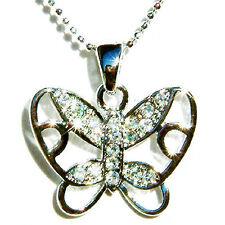 w Swarovski Crystal Wedding Bridal BUTTERFLY Charm Chain Pendant Necklace New
