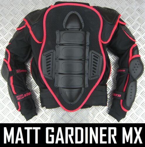 2017 STERN 2 Motocross Enduro Body Armour Costume Bionic Veste Noire Adulte Quad