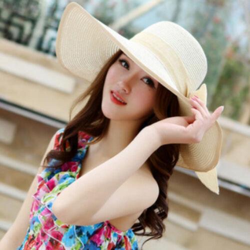 FASHION Summer Womens Ladies Beach Sun Visor Wide Brim Floppy Straw Hat Foldable