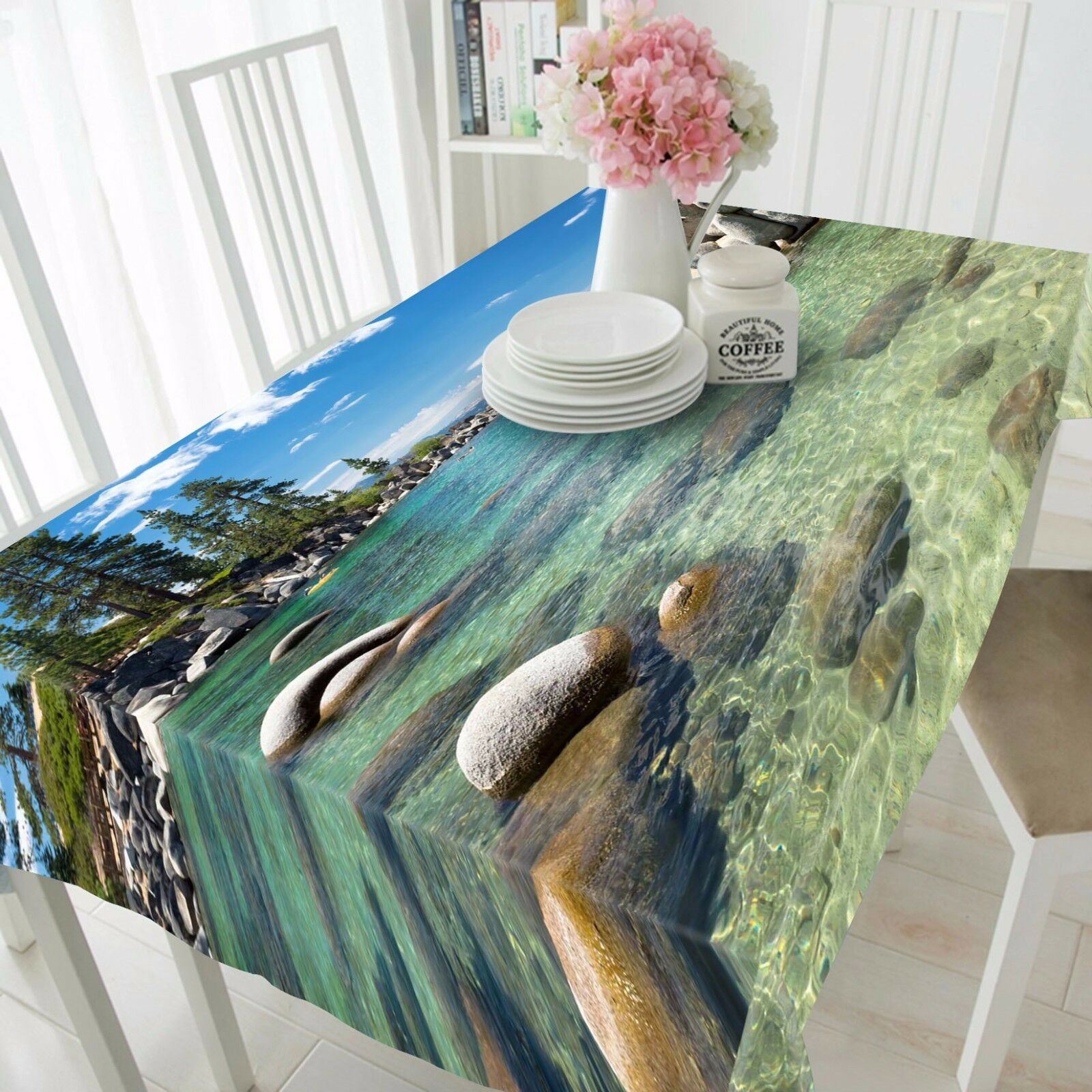 3D Sea Bay View 1 Tablecloth Table Cover Cloth Birthday Party Event AJ WALLPAPER