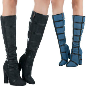 07acfc50bb1c NEW Contrast Color Trim Caged Denim Fashion Knee High Boots Chunky ...