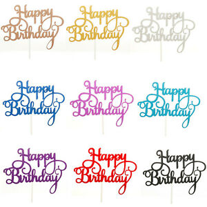 Happy-Birthday-Cake-Toppers-Glitter-Calligraphie-Bling-Sparkle-Decoration-Tout-Age