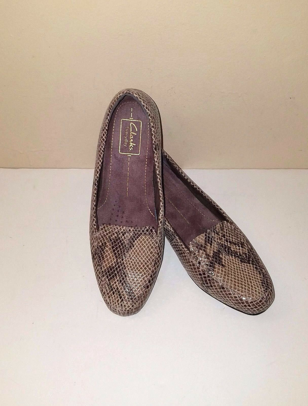CLARKS  Natural Brown Python Print Suede Leather Low Heel Loafer Sz. 7.5 M