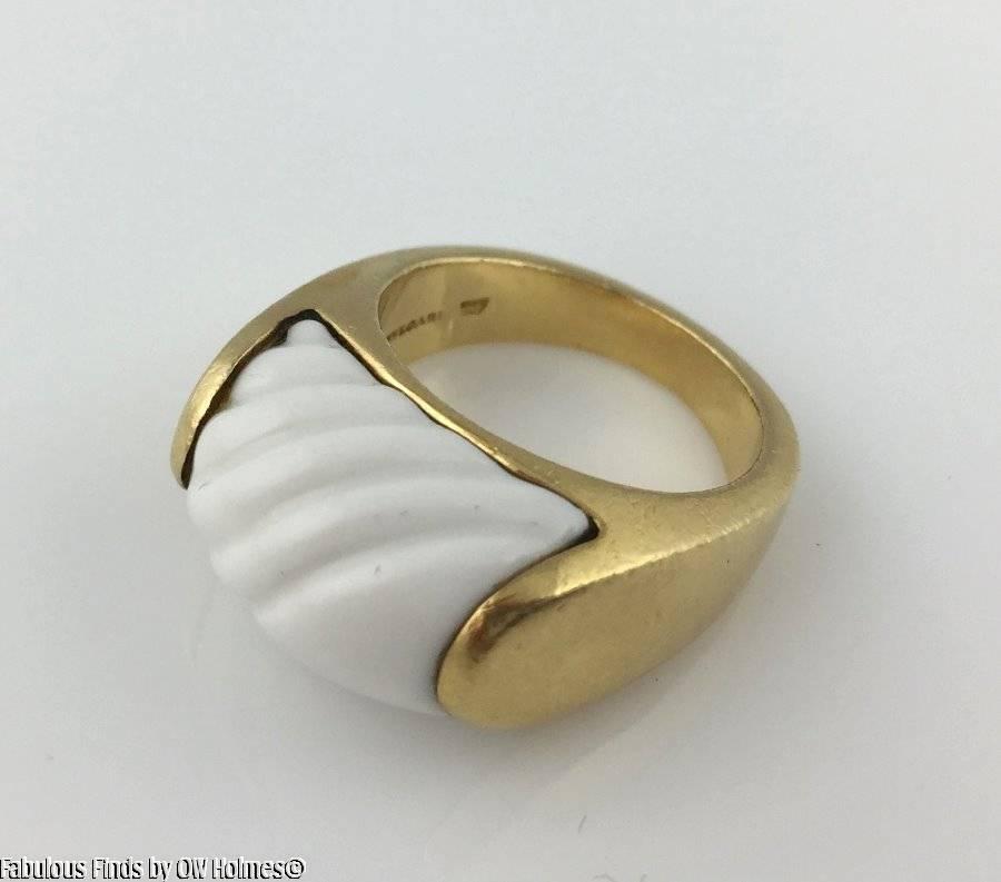 Bvlgari Bulgari TRONCHETTO 18K YG Carved White Ceramic Pinky Ring Size 5