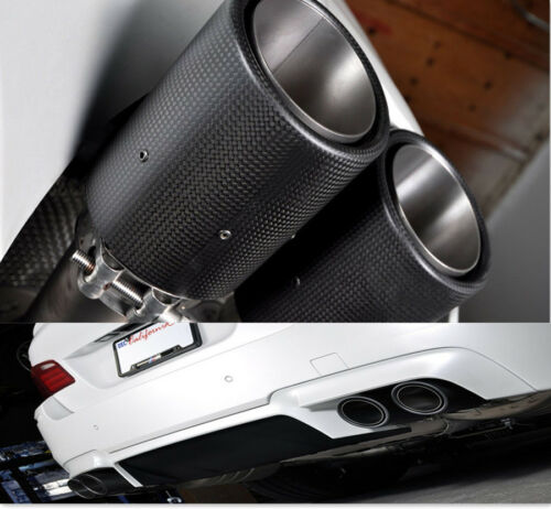 Black 100/% Real Carbon Fiber oval Car Exhaust Pipe Muffler End Tips 63mm-89mm