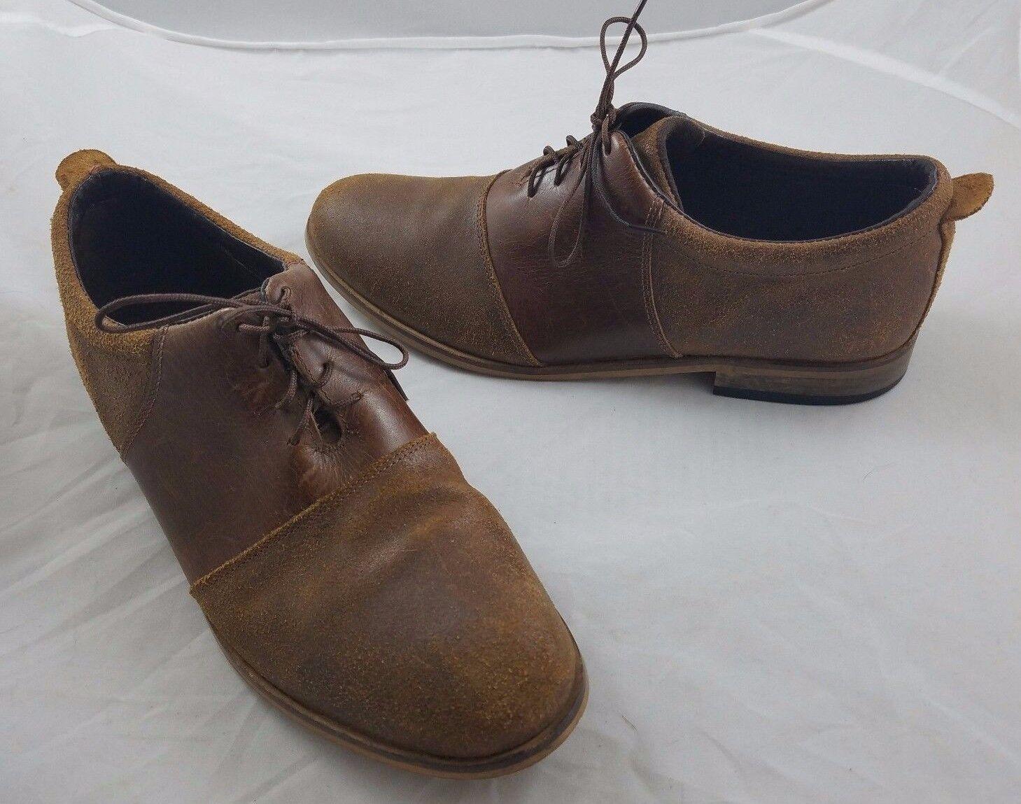 Uomo 2 Tonalità pelle Oxford Scarpe Eleganti 9.5 Doppio Leone India Marrone
