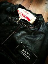 Energie / Sixty Black Real Leather Mens Racer Jacket M-L Biker Jacket