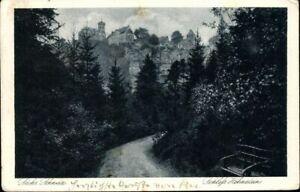 Postkarte-PK-AK-Schloss-Hohnstein-Saechs-Schweiz-gelaufen-1928-Fotografie-antik