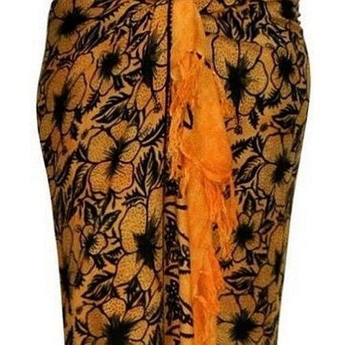 Sarong gelb orange Blumen Strandtuch Pareo Wickelrock Lunghi Stola Tuch 43