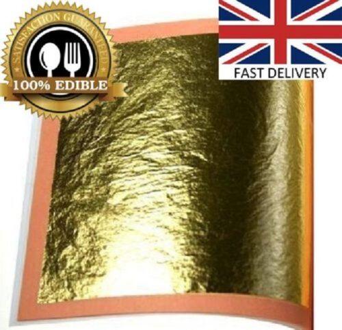 E 175.FOOD GRADE  100/% Pure 24k 10 xGold Leaf Edible  Sheets Cake Baking Crafts