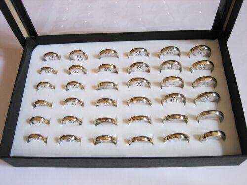 36 Edelstahlringe Bicolor silber-gold - poliert - Gr. 16-22mm  ** im Display **