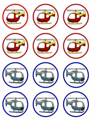 HELICOPTER Edible Wafer Paper Birthday Cake Decoration /& 12 Cupcake Toppers #1