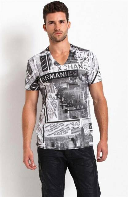 New Armani Exchange AX Mens Muscle/Slim Fit Allover City Tee Shirt
