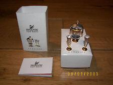 Swarovski Miniature Champagne Bottle in Ice Bucket, Two Flutes & Chrome Cloth