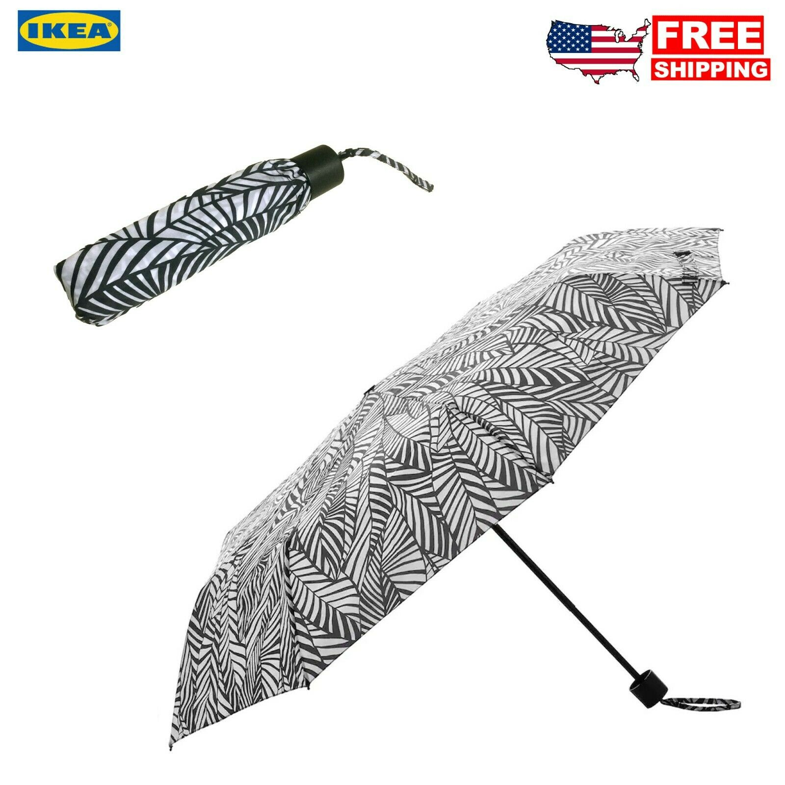 IKEA Black and White Leaf Compact Foldable Umbrella for travel and work
