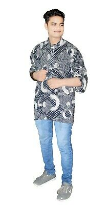 Large Indian Men/'s Kurta Shirt Multi Black /& Yellow Color 100/% Cotton Geometric Print Plus Size Loose fit