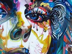 150cm x 100cm CANVAS PRINT URBAN PRINCESS GRAFFITI STREET ART Australia painting