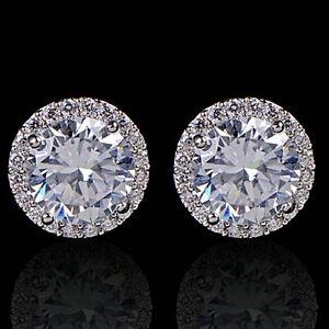 Nice-Crystal-Women-039-s-Sanwood-Platinum-Plated-Zircon-Inlaid-Ear-Stud-Earrings