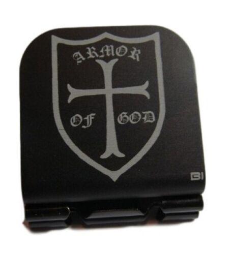 Armor Of GOD Crusader Shield Laser Etched Aluminum Hat Clip Brim-it