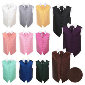 DQT-Boys-Waistcoat-amp-Cravat-Wedding-Set-Woven-Greek-Key-FREE-Pocket-Square