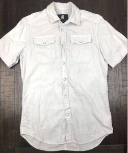 G-Star-Raw-Mens-LANDOH-Bone-Colour-Short-Sleeve-Pearl-Snap-Shirt-Size-Small