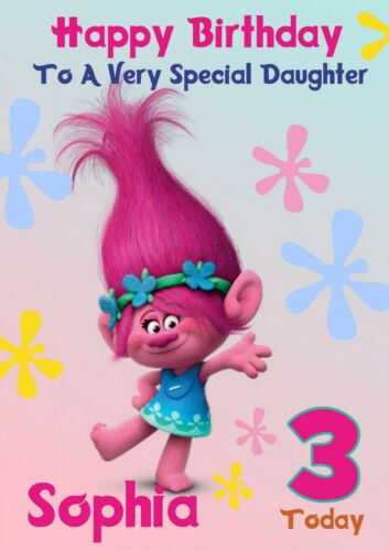 personalised birthday card Trolls any name//age//relation