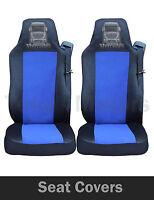 2x MERCEDES ACTROS AXOR FUNDAS DE ASIENTO a medida Hgv Camión Negro/Azul Logo