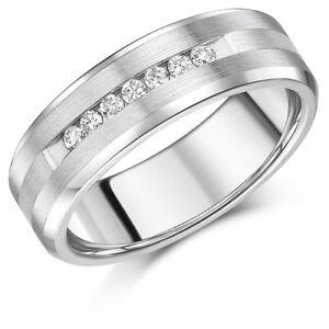 Men S Titanium Ring Titanium Silver Inlaid 7 Diamond Wedding Band 7mm Ebay