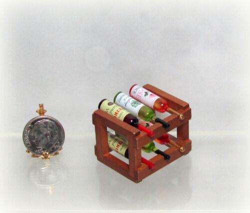 Dollhouse Miniature Reutter Wood Wine Rack & Bottles Set