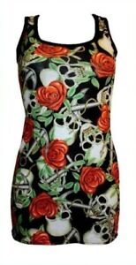 UNIQUE-HEART-ROSE-SKULL-ANCHOR-TATTOO-PRINT-LONG-VEST-TANK-TOP-GOTHIC-PUNK-EMO