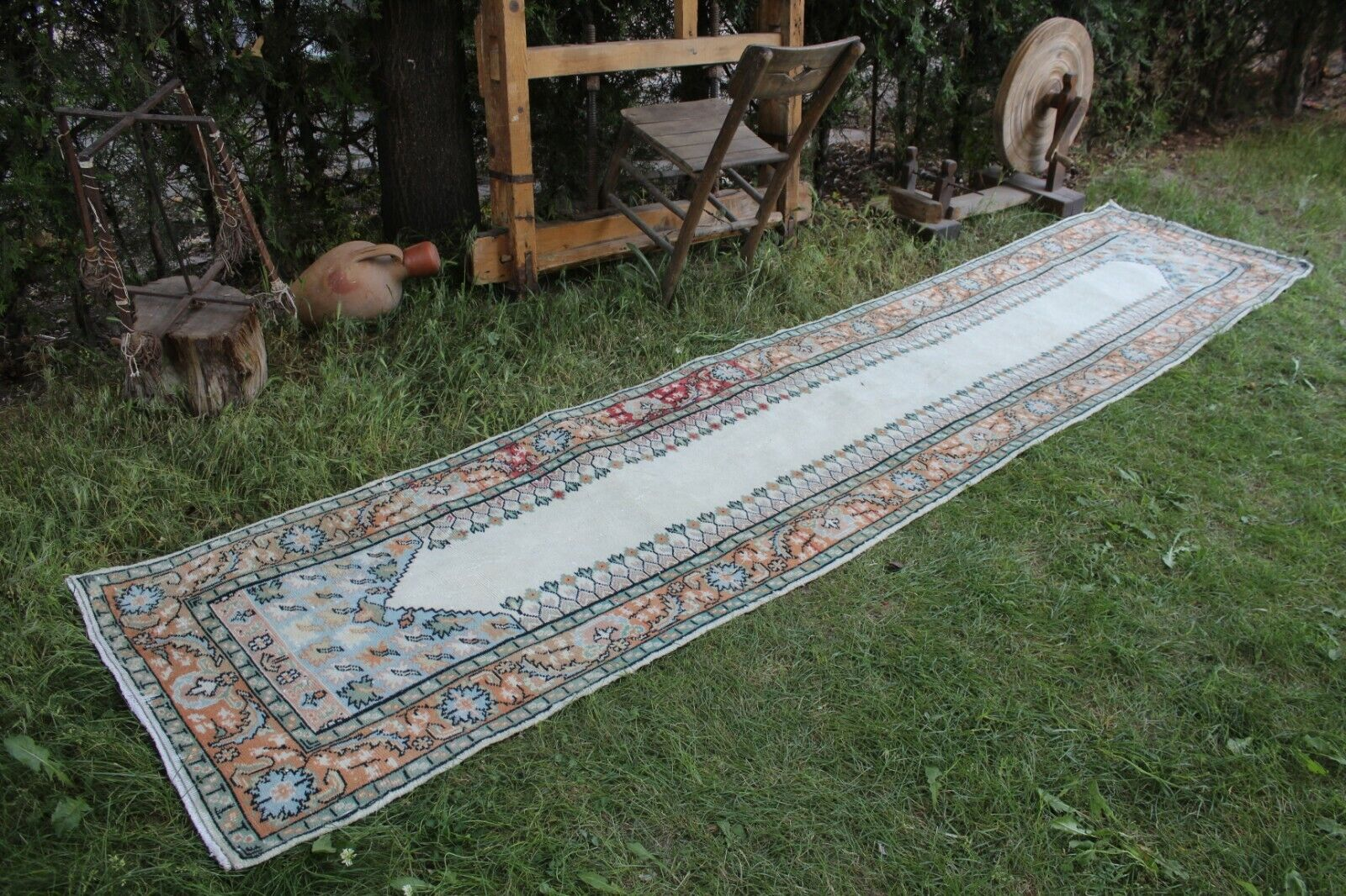 Vintage hecha a mano larga alfombra turca pequeñas Runner envejecido 12'7 x2'7