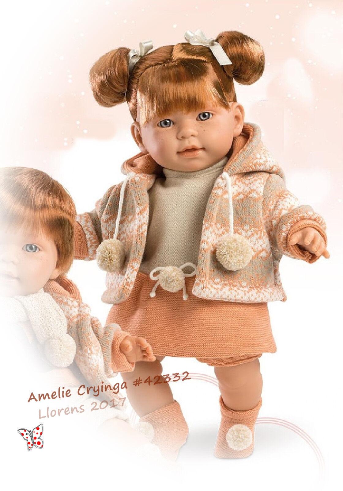 Llorens Miguel - Amelie, 42cm Puppe m. Haare, Babypuppe mit Sprachmodul