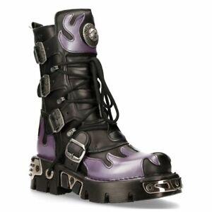New Rock Violet Flamme Punk Bottes Cuir Noir Gothique Lourd Motard M-591-S5