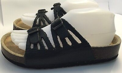 Foot Levelers RIO Black Leather Dual Straps Cork Footbed Size 6.5 - 7 Sandals