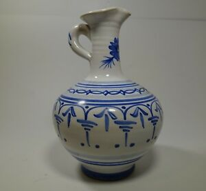 """BAB304 BLUE AND WHITE ART POTTERY EWER PITCHER, 6"""" HIGH hand painted"""