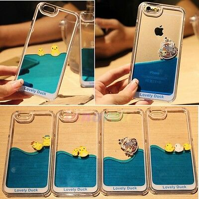Hot Cute Duck Liquid Transparent Hard Case Cover Skin For iPhone 5 5S 6 6S 6Plus
