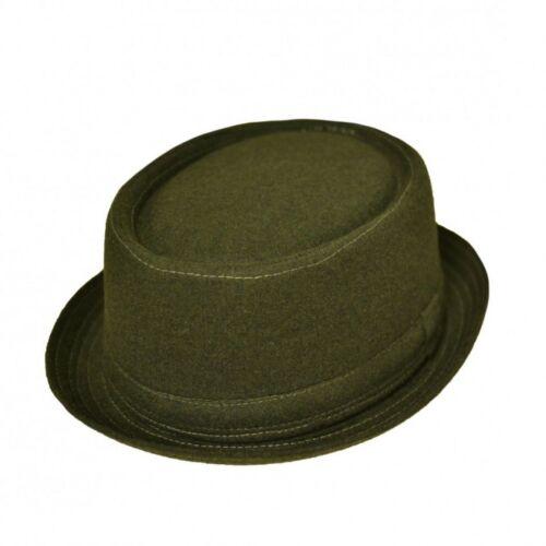 Unisex Mens Ladies Pork Pie Wool Blend Porkpie Trilby Hat With Band